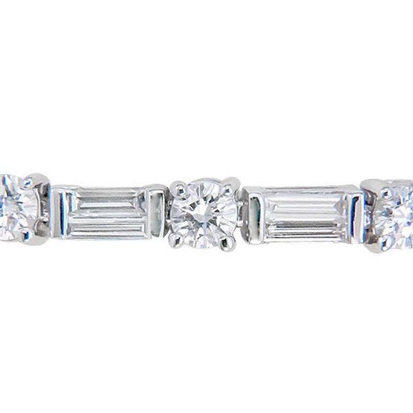 and platinum classic gemlok round collection baguette diamond bracelets bracelet