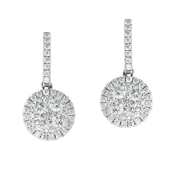 View Diamond Drop Illusion Earrings Set In 18k White Gold