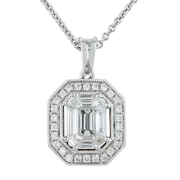 Rahmanims imports view emerald cut diamond halo illusion pendant aloadofball Choice Image
