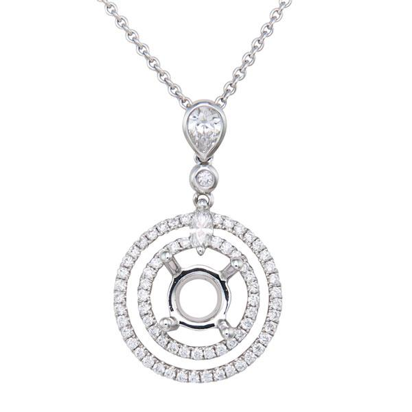 Rahmanims imports view two row halo diamond semi mount pendant set in 18k white gold mozeypictures Image collections