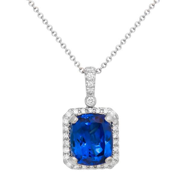 Rahmanims imports view gem quality cushion shape tanzanite and diamond pendant set in 18k white gold with a mozeypictures Choice Image