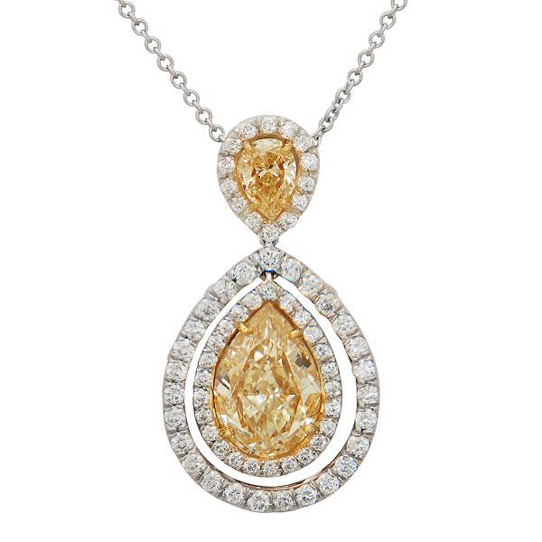Rahmanims imports view custome made natural yellow and white diamond pendant set in a double halo design aloadofball Image collections